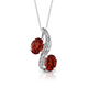 Red andesine pendant with chain.