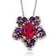 Rubellite Quartz floral pendant with chain.