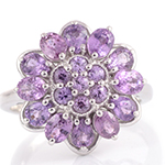 Madagascar purple sapphire floral ring in sterling silver for women.