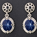 Thai blue star sapphire earrings in sterling silver.