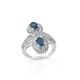 Teal kyanite ring in sterling silver.