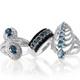 Teal kyanite set of rings in sterling silver.