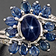 Floral ring with Thai blue star sapphire.