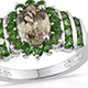 Turkizite cluster ring with diopside in sterling silver.