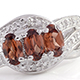 Umba River zircon three stone ring in sterling silver.