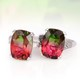 Brazilian Watermelon Quartz set of two rings for women.