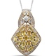 Yellow sapphire cluster pendant with chain in sterling silver and yellow gold finish.
