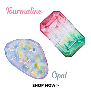 Tourmaline, Opal - October birthstone jewelry.