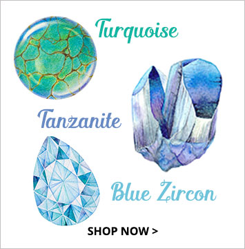 Turquoise, Tanzanite, Zircon - December birthstone jewelry.