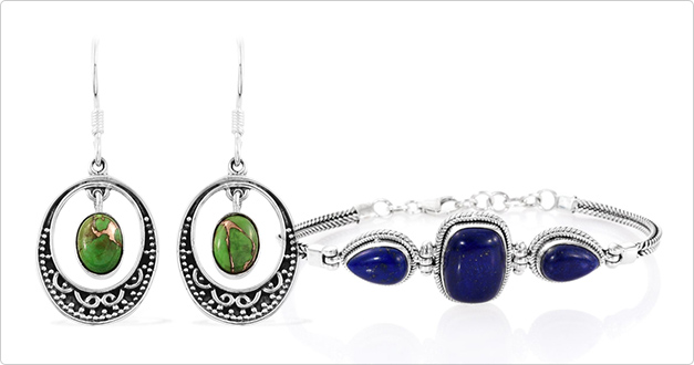 Peruse artisan crafted green turquoise earrings and lazuli bracelet.