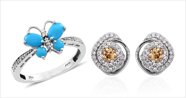 Explore butterfly ring and cluster stud earrings.