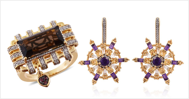 Explore multi gemstone desginer ring and earrings.