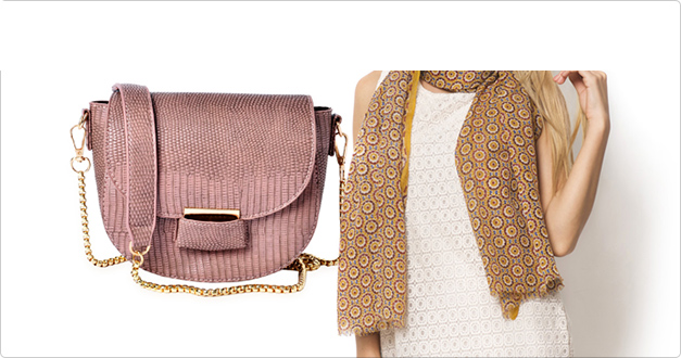 Peruse crossbody bag and patterned scarf at Shop LC.