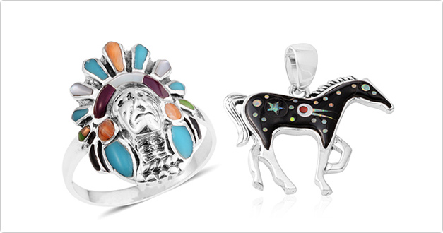 Discover Santa Fe Style tribal ring and horse pendant at Shop LC.