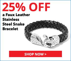 Black Woven Faux Leather Stainless Steel Snake Bracelet (8.50 In)
