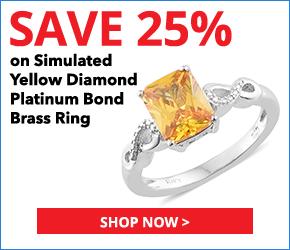 Simulated Yellow Diamond Platinum Bond Brass Ring (Size 9.0) TGW 5.25 cts