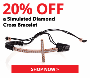 Simulated Diamond 14K RG Over Sterling Silver Cross Bracelet on Braided Black Cord (Adjustable) TGW 0.44 cts.