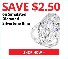 Simulated White and Purple Diamond Silvertone Ring (Size 8.0) TGW 1.10 cts