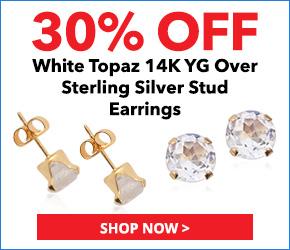 White Topaz 14K YG Over Sterling Silver Stud Earrings TGW 0.75 cts. 3076621