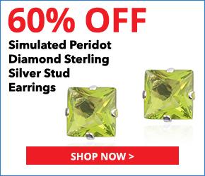 Simulated Peridot Diamond Sterling Silver Stud Earrings TGW 0.75 cts.
