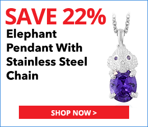 Simulated Purple Diamond Sterling Silver Elephant Pendant With Stainless Steel Chain (20 in) TGW 4.40 cts.2850565