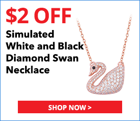 Simulated White and Black Diamond 14K RG Over Sterling Silver Swan Necklace (18-20 in) TGW 2.00 cts.2885235