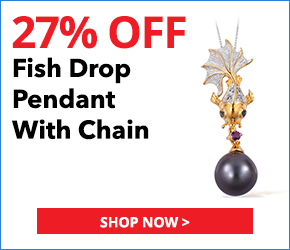Tahitian Pearl (10.5-11 mm), Multi Gemstone 14K YG Over and Sterling Silver Fish Drop Pendant With Chain (18 in) TGW 0.34 cts.3074821