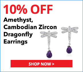 Amethyst, Cambodian Zircon Platinum Over Sterling Silver Dragonfly Earrings TGW 4.75 cts.3099780