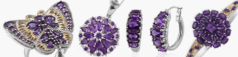 Amethyst stones used in butterfly ring, necklace pendant, earrings and ring.