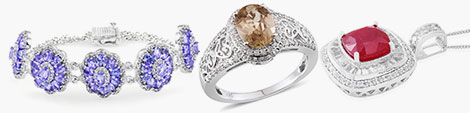 Beautiful ring, art-deco style pendant and tanzanite floral bracelet at Shop LC.