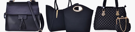 Three black handbags for sale online at Shop LC.