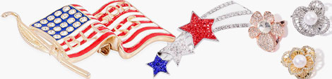 Find American flag, star and floral brooches jewelry.