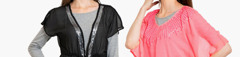 Find party wear black and pink colored chiffon scarves.