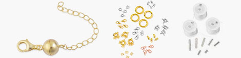 Magnetic ball clasps, set of clasps and multi row tube and white thread rolls.