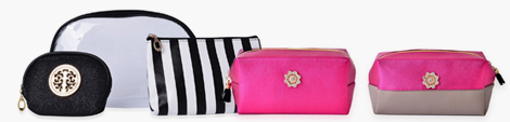 Five makeup storage bags in trendy designs.
