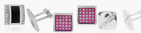 Three black, pink and silver cufflinks for men at Shop LC.