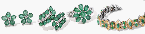 Find emerald floral studs, leaf earrings, floral ring and designer bracelet.