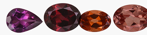 Explore loose garnet gemstones in a variety of colors and pear and oval shapes.