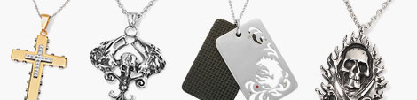 Uncover cross, skull and dog tag men's necklaces at Shop LC.