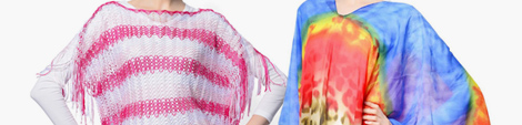 Stylish woven and printed multi color poncho scarves.