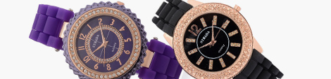 Purple and black stylish silicone watches.