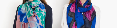 View nature and abstract print multi color silk scarf at Shop LC.