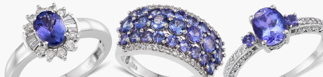 variety of AAA tanzanite rings for women in sterling silver.