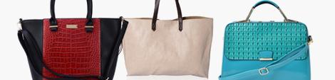 Three fashionable tote bags.