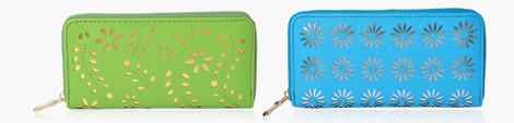 Two wallets in bright colors.