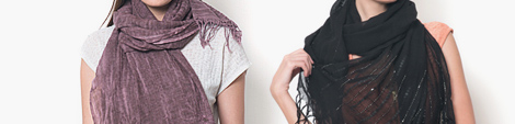 Purple and black colored wool scarves for women.