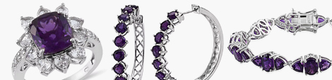 Lusaka amethyst cocktail ring, hoop earrings and fashion bracelet at Shop LC.