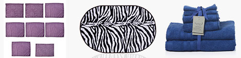 Purple reusable cooling towel set, Zebra print bathmat and blue set of towels at Shop LC.