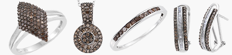 champagne diamond range of rings, pendant and earrings.