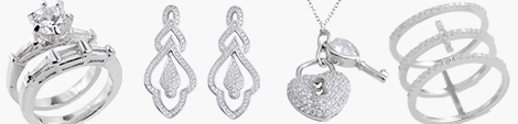 Elegant cubic zirconia ring, earrings, pendant and bracelet.